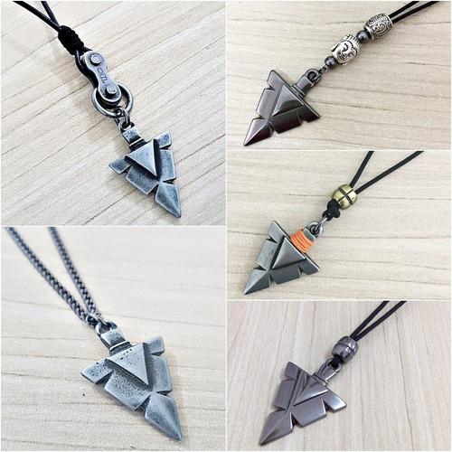 colar masculino cordão couro corrente ponta flecha tribal un