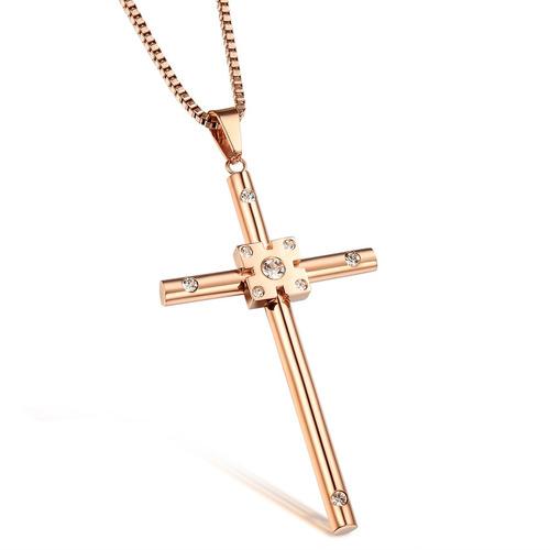 colar masculino corrente + crucifixo semijoias banhado 60cm