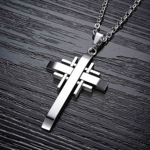 colar masculino corrente + pingente cruz trabalhada aço inox