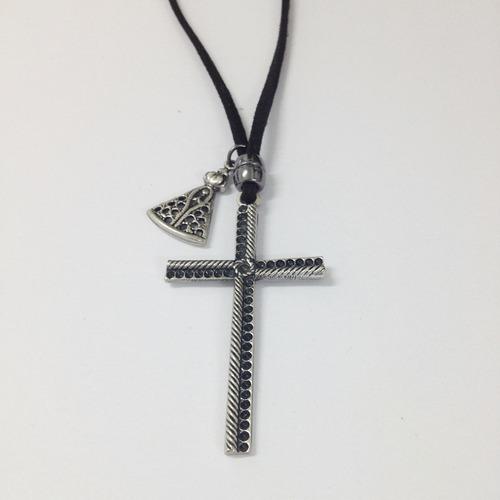 colar masculino couro pingentes crucifixo e nossa senhora