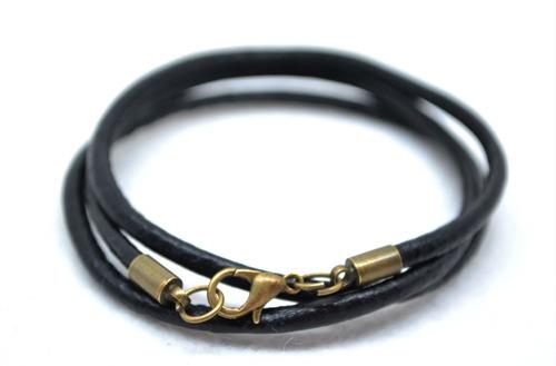 colar masculino couro trançado oferta do dia 2 peças