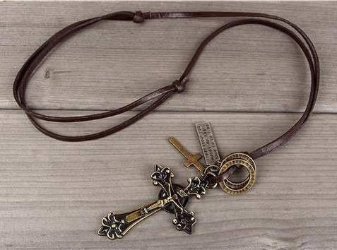 colar masculino crucifixo couro vintage + pingente pulseira