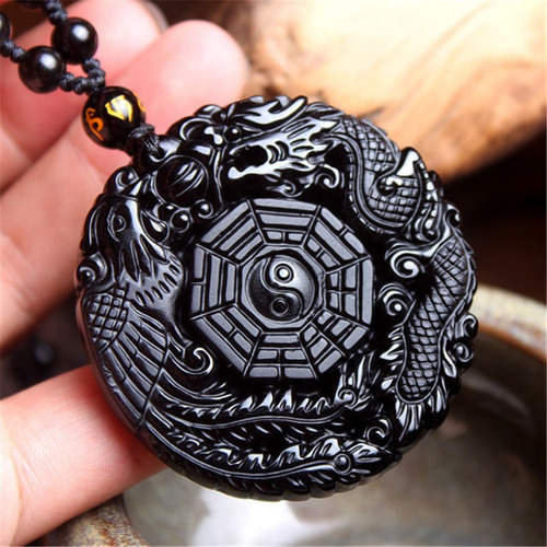 colar masculino de força obsidiana yin yang fenix dragão