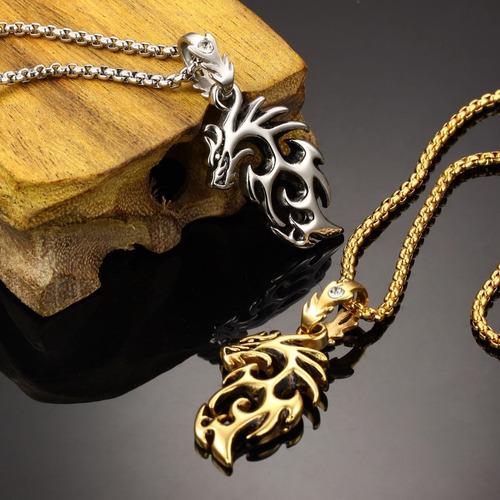 colar masculino dragão prateado aço inox + cristal zircônia
