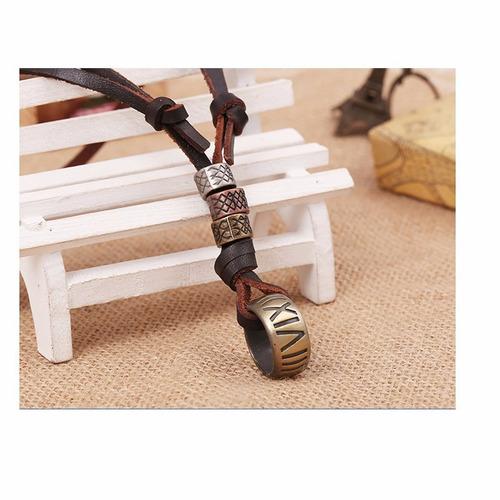 colar masculino feminino couro ajustavel com pingente bd1274