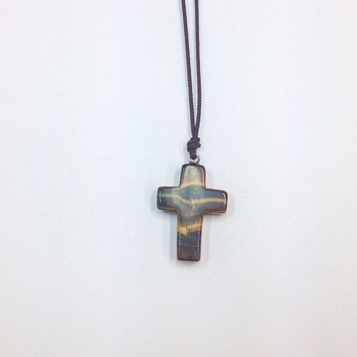 colar masculino feminino crucifixo cruz pedra olho de tigre