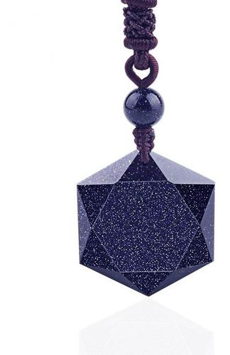 colar masculino hexagrama estrela azul arenito azul macramê