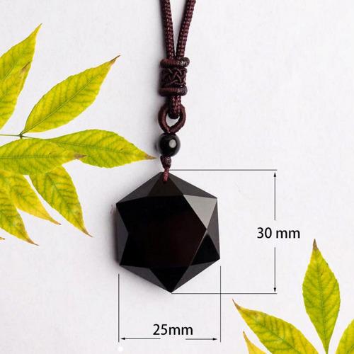 colar masculino hexagrama  estrela obsidiana negra macramê