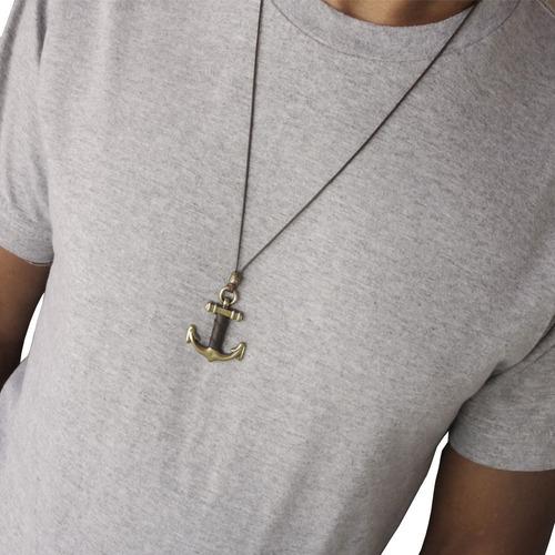 colar masculino âncora imponente detalhe em couro