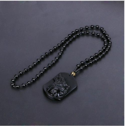 colar masculino pingente lobo de pedra obsidiana negra