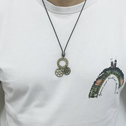 colar masculino pingentes engrenagem vintage moda rua street