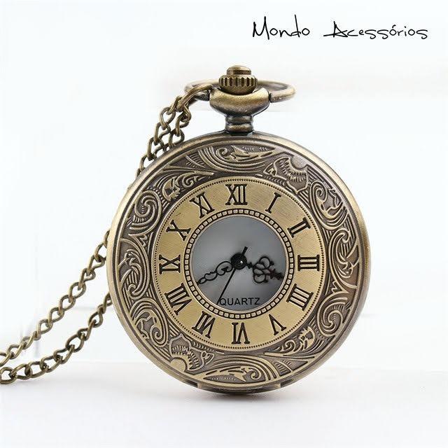 49e6e065931 Colar Masculino Steampunk Relógio De Bolso Vintage Retro - R  47