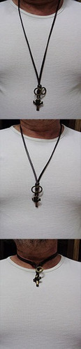 colar masculino,cordão couro natural,cruz estilizada,vintage