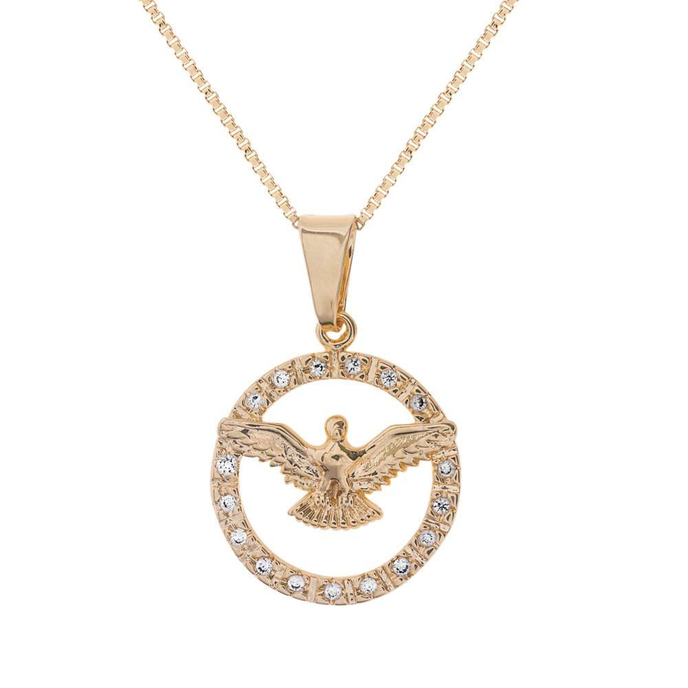135de576e8161 colar medalha divino espírito santo folheado semi joia ouro. Carregando  zoom.