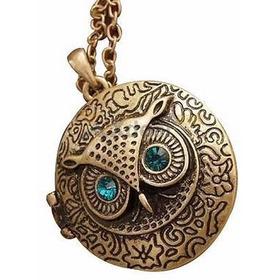 Colar Medalhão Relicário Vintage Coruja Corrente De 70 Cms M