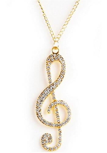 colar música clave de sol dourado vestido de cristal