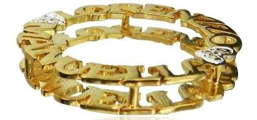 colar nome mandala ouro 18k brilhante 2 nomes 4 coraçoes 3cm