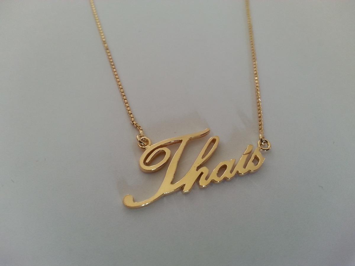 colar nome personalizado banho ouro18k thais - frete gratis. Carregando  zoom. 31fd5fdcc6
