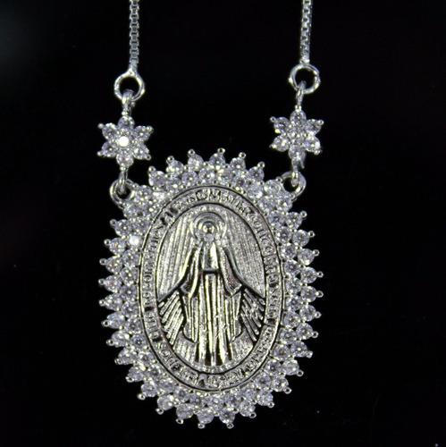 Colar Nossa Senhora Das Graças Medalha Milagrosa Semi Joia - R  219 ... a7d84b5a5f