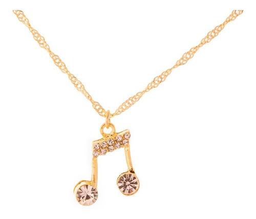 colar nota musical cordão corrente feminina dourada