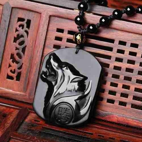 colar obsidiana dragon wolf fox lion rocha vulcânica cristal
