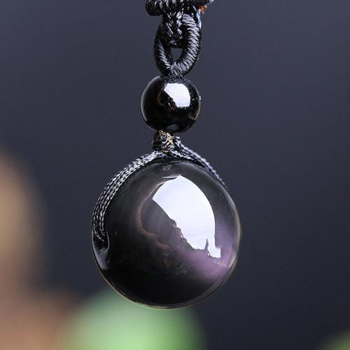 colar obsidiana natural pingente promoção