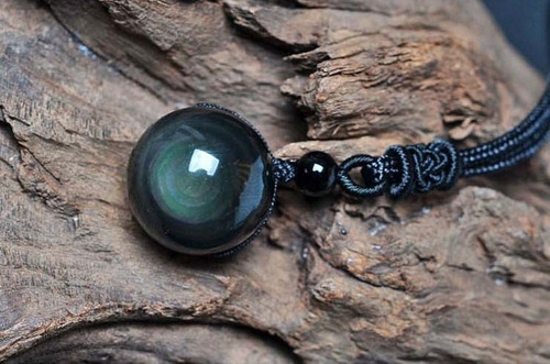 colar obsidiana negra pedra natural 14mm