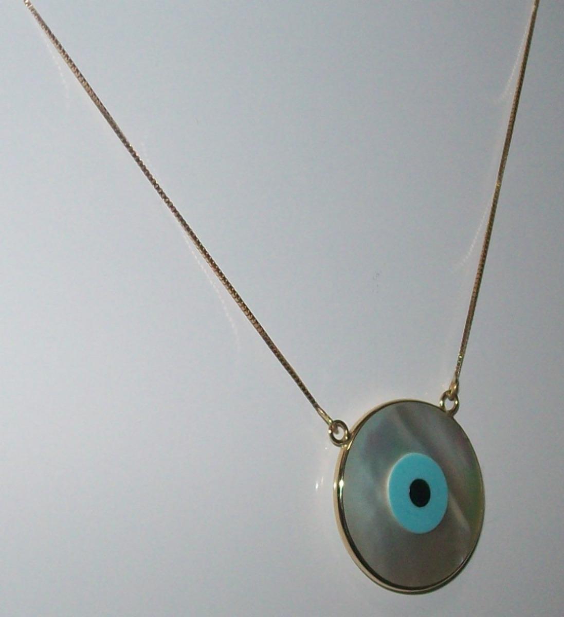 91e66d8f43b15 colar olho grego ouro 18k. Carregando zoom.