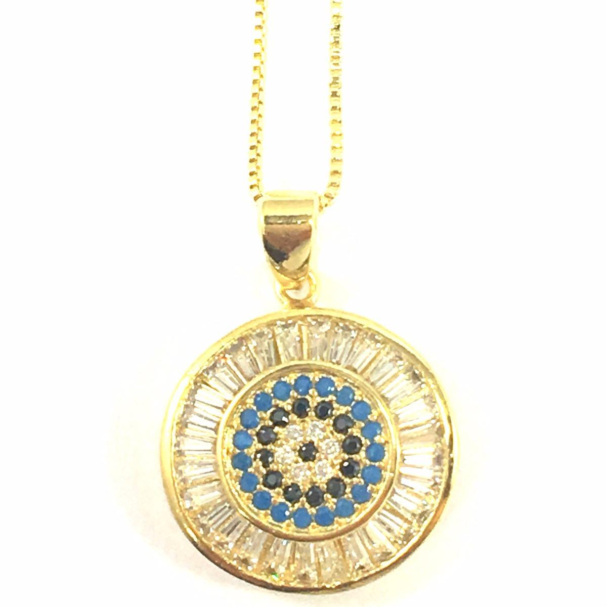 00354188742da colar olho grego zirconias baguete banhado a ouro 18k. Carregando zoom.