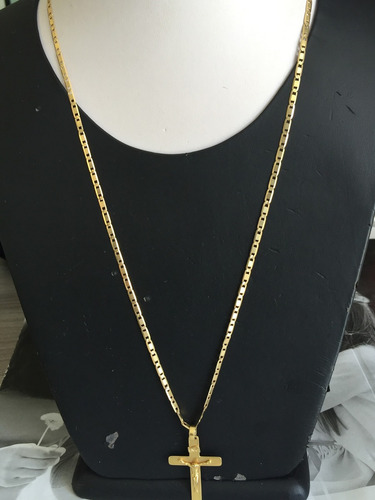 colar ouro 18k-12.60gr.-61cm.-larg. 3mm. cruz cristo.