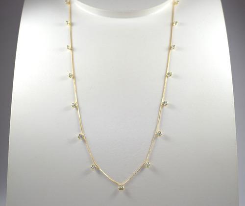 colar ouro 18k 750 com zircônias brancas 3mm  gambet  40cm.
