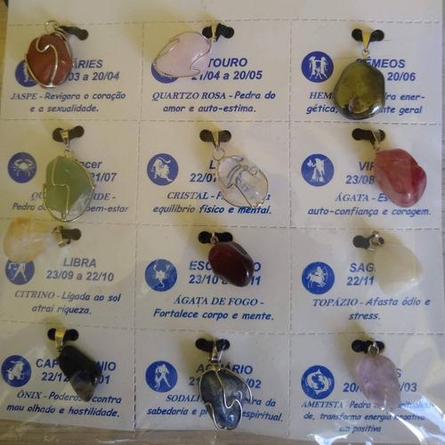 colar pedra dos signos ref 6112 - 3 cartelas com 12 unidades