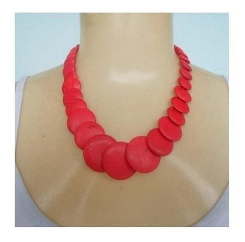 colar pedra natural howlita coral ref 4194 - colar vermelho