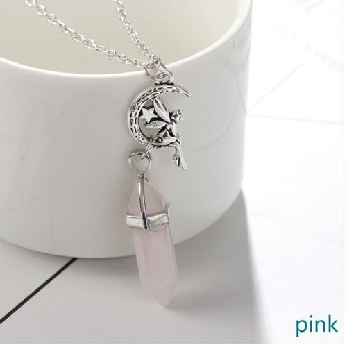 colar pedra natural pêndulo quartzo rosa fada do amor
