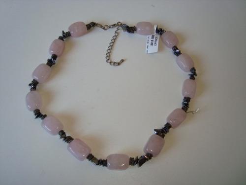 colar pedra rolada quartzo rosa hematita natural prateado