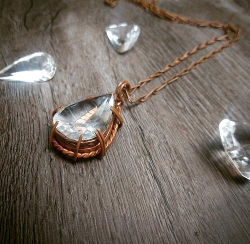 colar pendente artesanal em cobre, pingente cristal lapidado