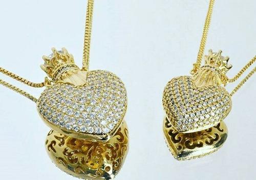 colar perfumeiro cravejado de zirconia semijoia banhada ouro
