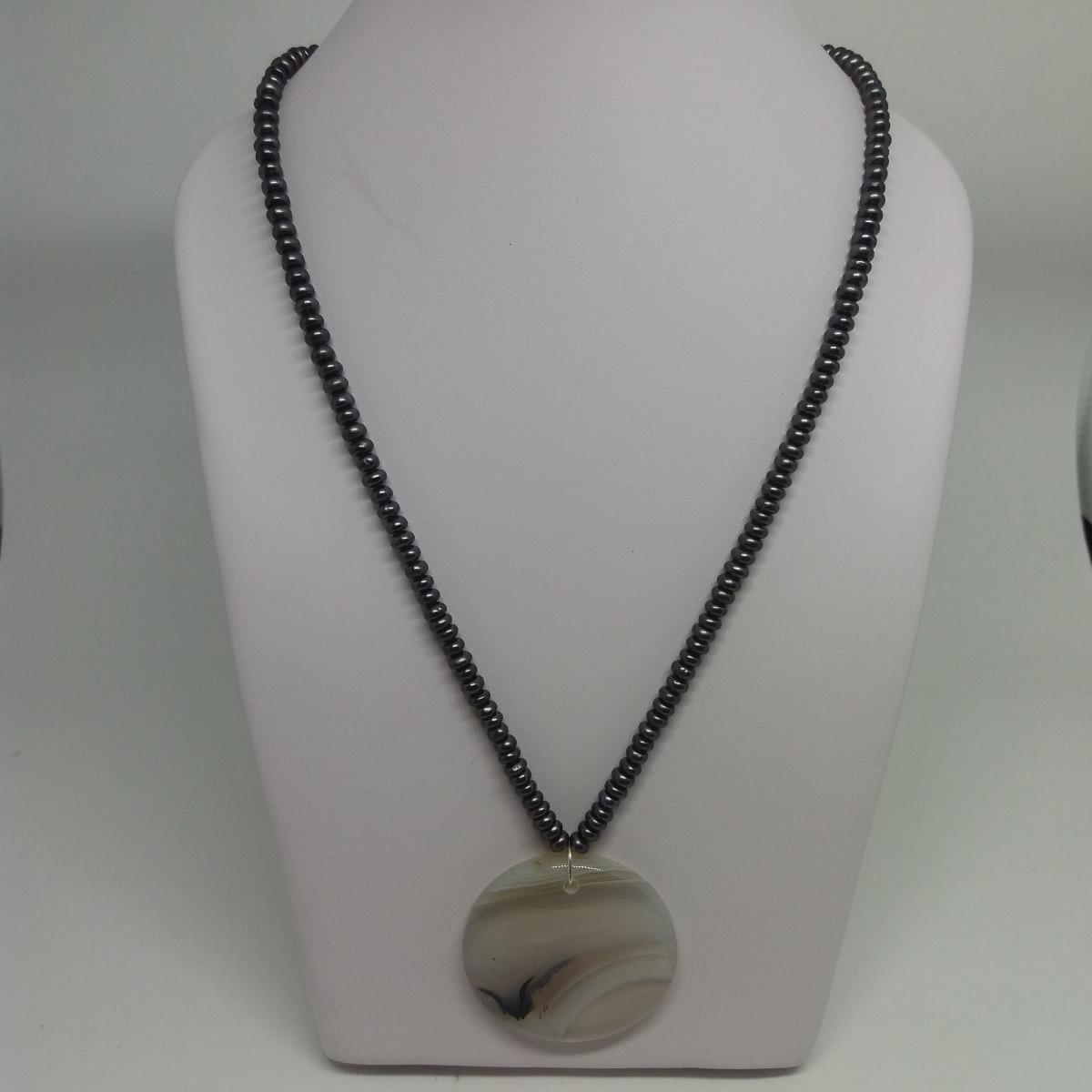 c1531d8dfb8d2 colar pérola baby pingente ágata pedra natural e brinde! Carregando zoom.