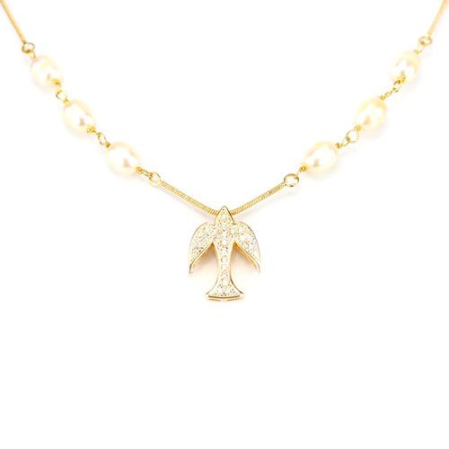 colar pérola espírito santo em zircônia branca - cl020048