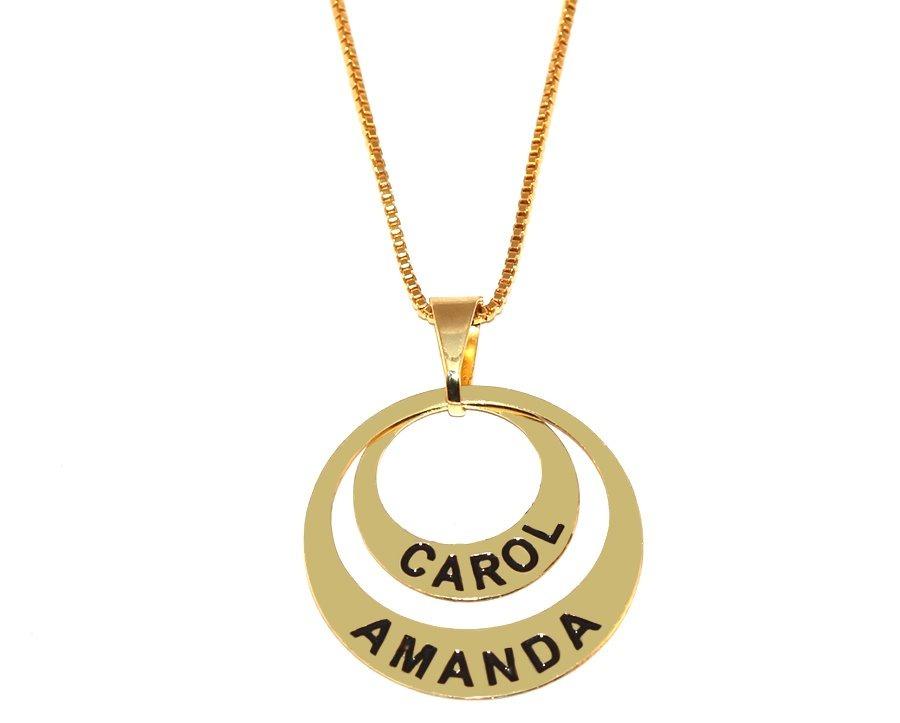 db5d31f76e483 colar personalizado 2 nomes filhas best folheado ouro 18k. Carregando zoom.