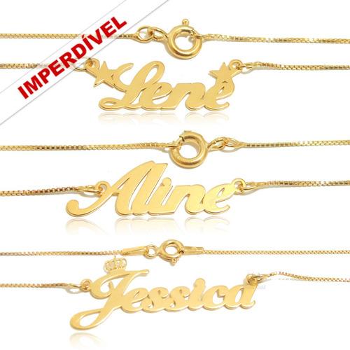 colar personalizado com nome em prata com banho de ouro 24k