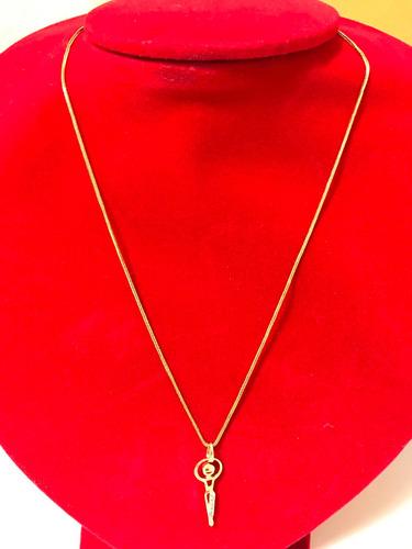 colar pingente: 35mm. em ouro 18k-2.8gr. 40cm. brilhantes.