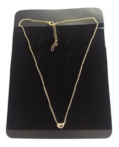 colar pingente coraçao dourado ajustavel correntinha fem.