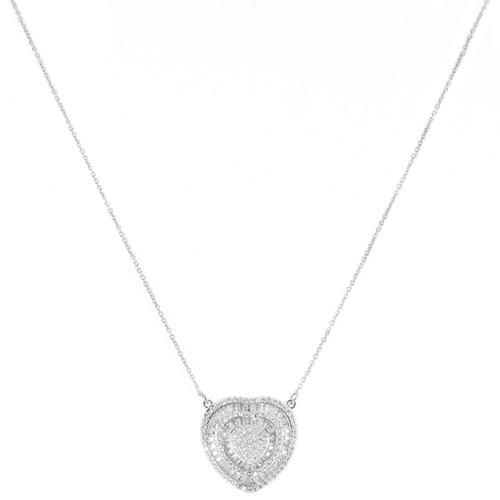 colar pingente coração baguetes ródio zircônia transparente