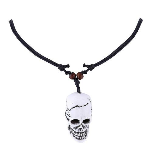 colar pingente cordão couro jóias halloween