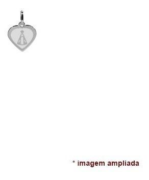 colar pingente corrente prata 925 coração, nsa sra aparecida