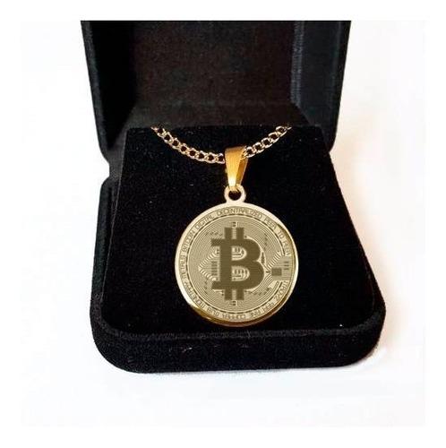 colar pingente folheado a ouro bitcoin corrente 60cm
