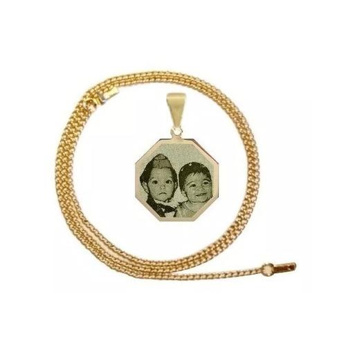 colar pingente folheado ouro foto gravada, família saf08
