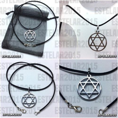 colar pingente hexagrama estrela davi salomão wicca h15