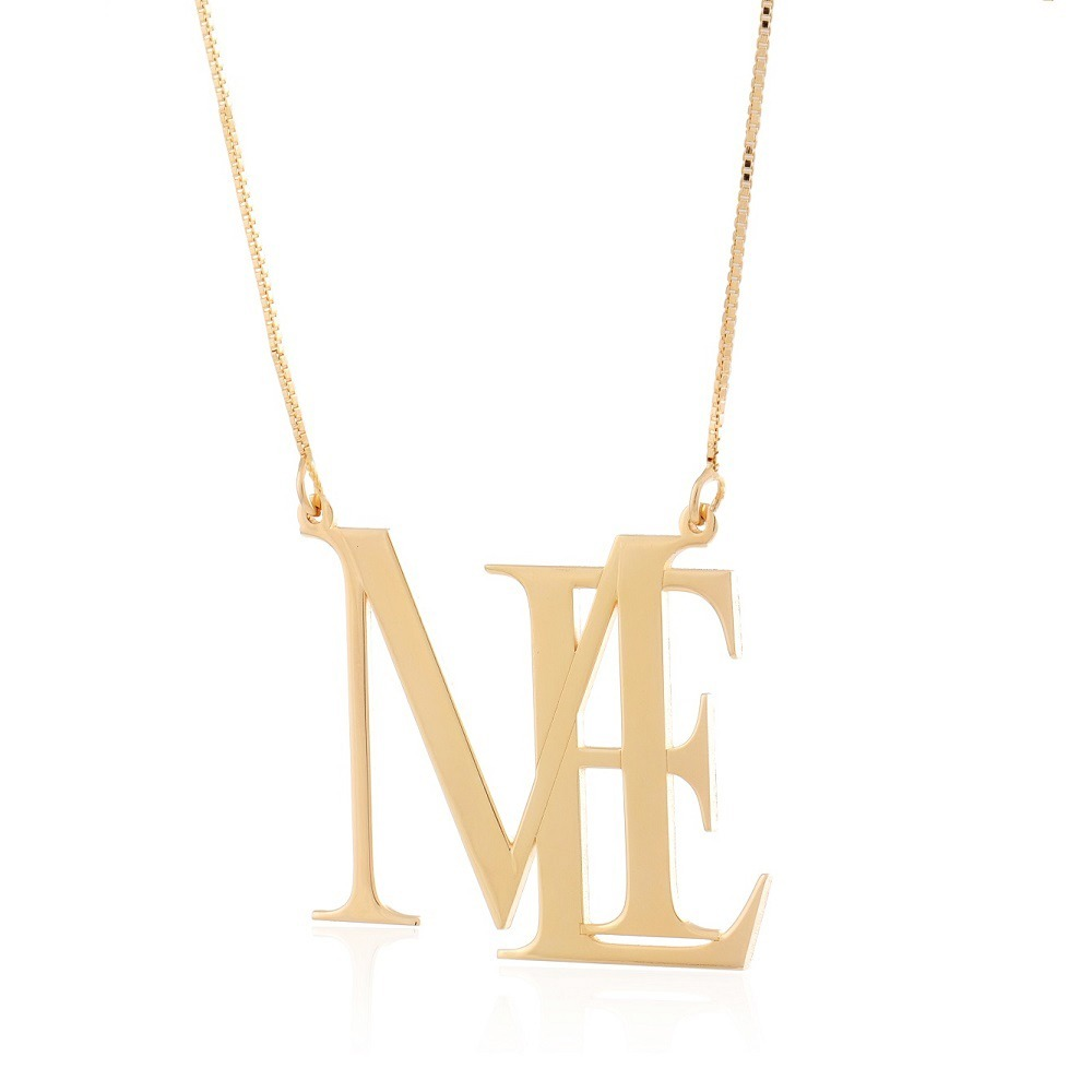 colar pingente letras monograma prata 925 banhado a ouro 18k. Carregando  zoom. a1709cbe07